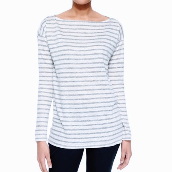 ATM Blue & White Striped Long Sleeve Tee